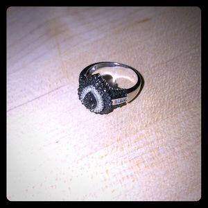 Black rhinestone and cubic zirconia silver ring